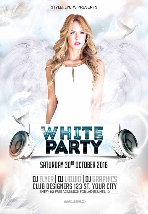 Free All White Party Flyer Template  PetitComingoutpolyCo