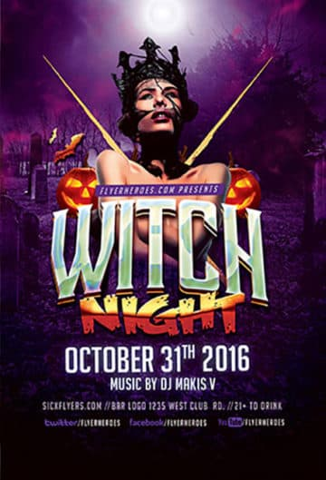 Witch Night Free Halloween Flyer Template