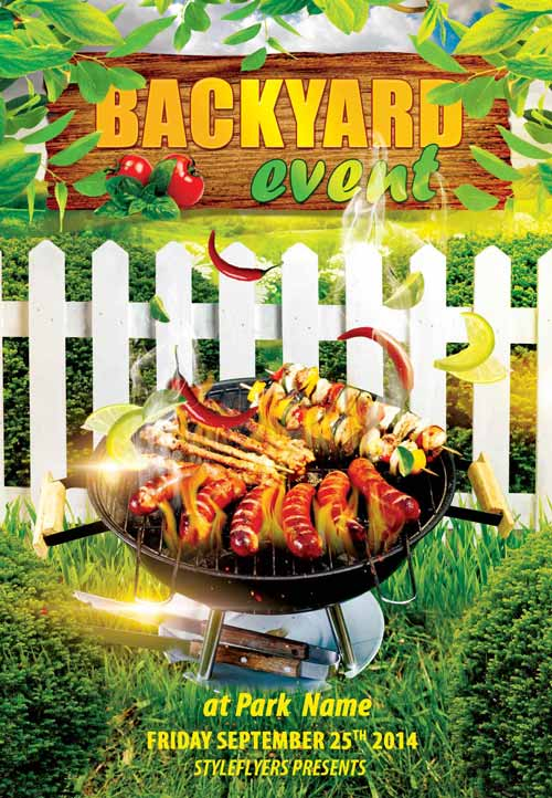 Backyard BBQ Event Free Flyer Template