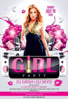 Party Girl Party Free Flyer Template