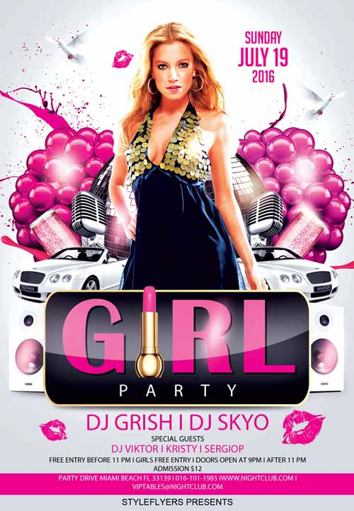 Download The Party Girl Party Free Flyer Template