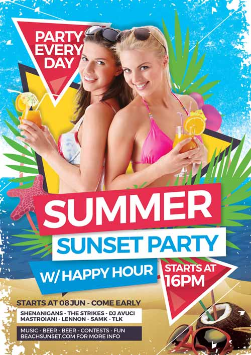 Summer Sunset Party Free Flyer Template