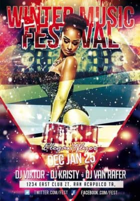 Winter Music Festival Free Flyer Template