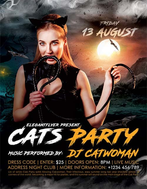 Cats Party Club Free Flyer Template