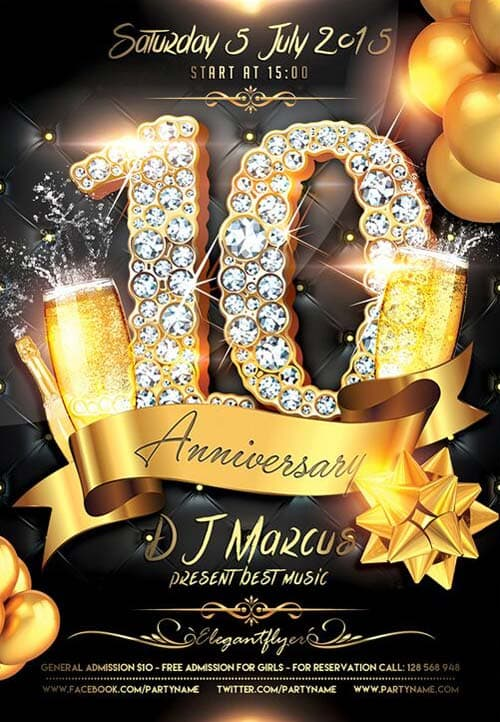 Marvelous Anniversary Celebration Free Flyer Template