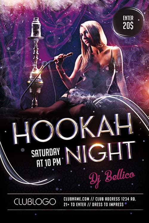 Download the Hookah Night Lounge Free Flyer Template for Photoshop – Lounge Flyer Template
