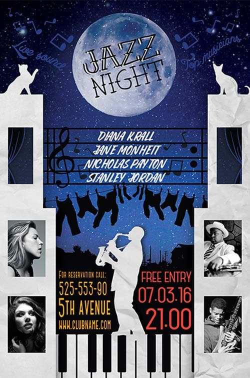 Jazz Night Free Flyer Template