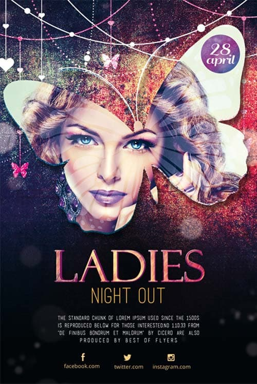 Download the Ladies Night Out Free Flyer Template for Photoshop