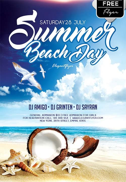 Download Summer Beach Day Free Flyer Template For Photoshop
