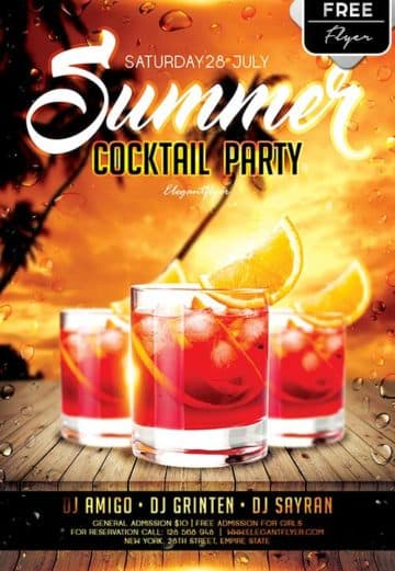 Summer Cocktail Party Free Flyer Template