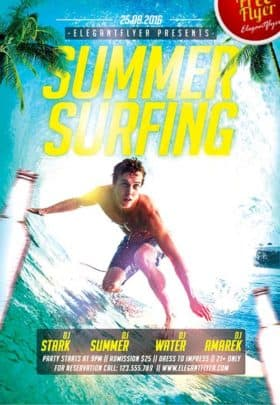 Summer Surfing Free Flyer Template