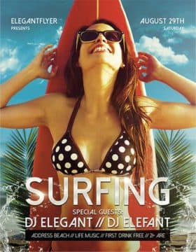Summer Surfing Event Free Flyer Template