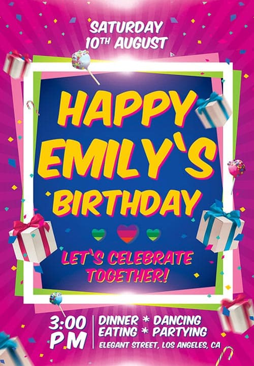 Freepsdflyer download the birthday party invitation free flyer birthday party invitation free flyer template filmwisefo Images