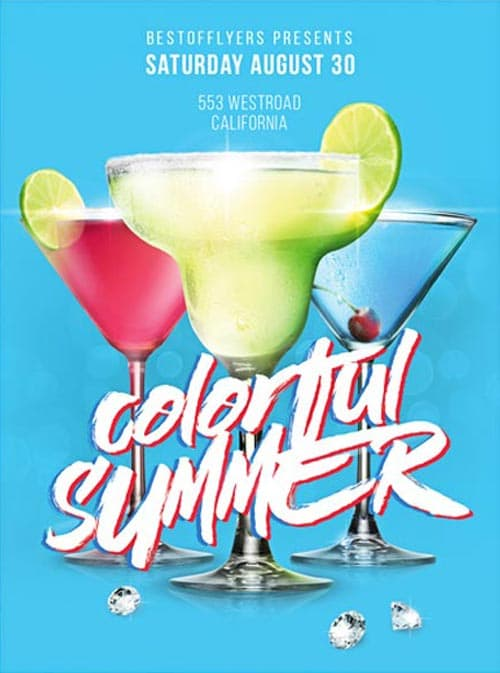 Colorful Summer Party Free PSD Flyer Template