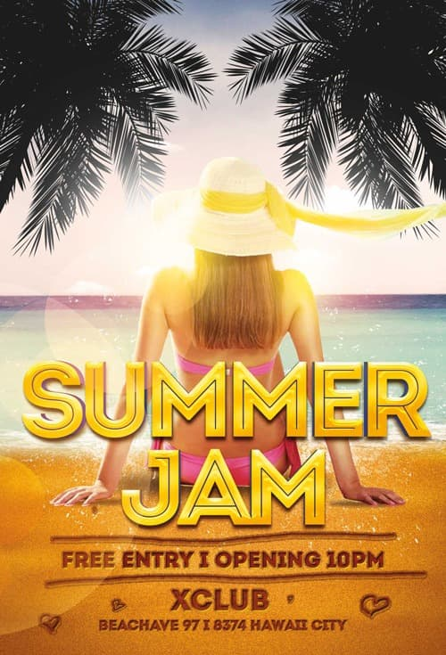 Freepsdflyer Download The Summer Jam Free Flyer Template For Photoshop