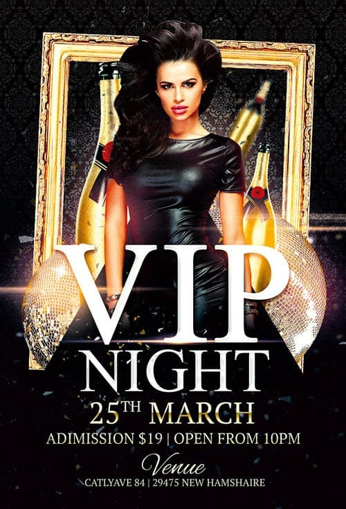 Download the Vip Night Club Free Flyer Template for Photoshop