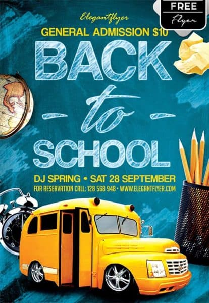 Download The Back To School Party Free Flyer Template For