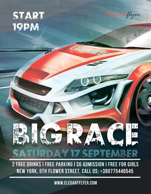download the big race motorsport free flyer template for photoshop