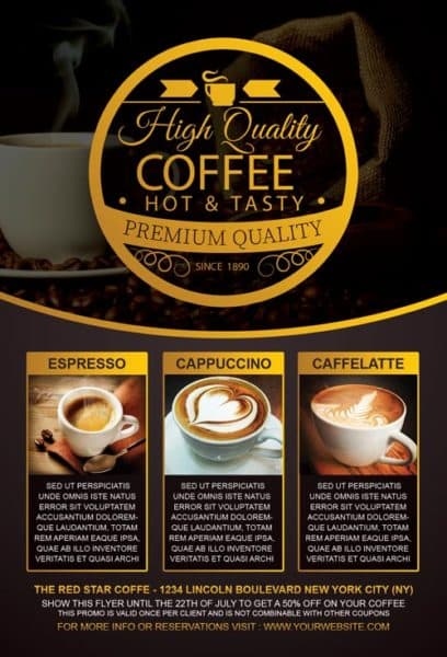 coffee special promotion flyer template for photoshop. Black Bedroom Furniture Sets. Home Design Ideas