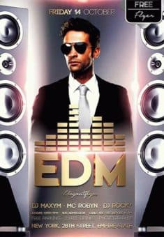 EDM DJ Music Free Flyer Template
