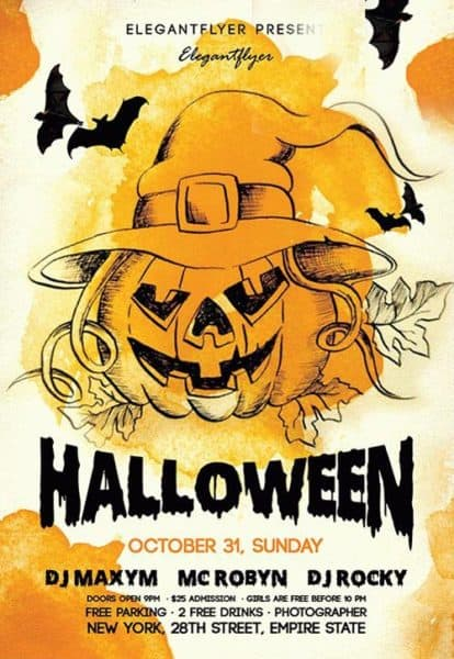 Download the night halloween free flyer template for photoshop for Free halloween flyer templates