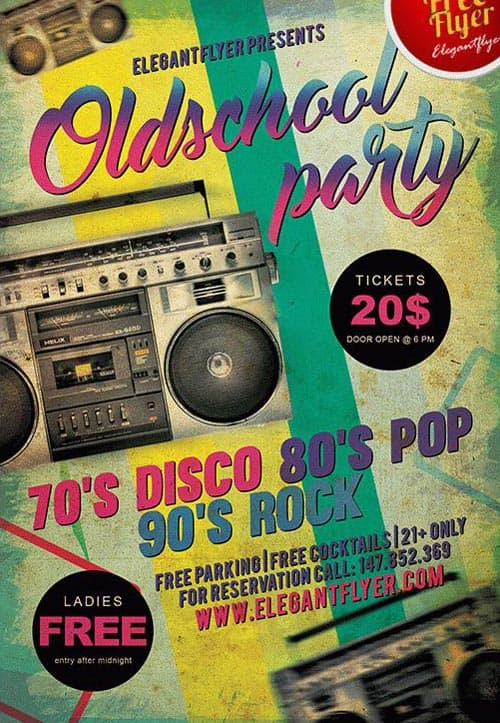 download the old school party free flyer template for