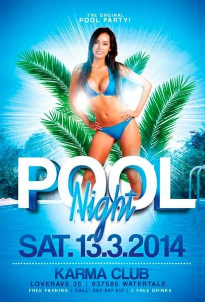 Pool Summer Party Free Flyer Template