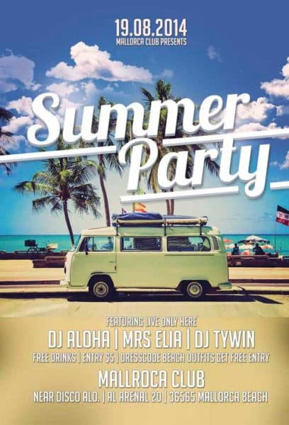 Summer Party Free Flyer Template