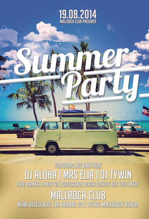 download summer party free flyer template for photoshop