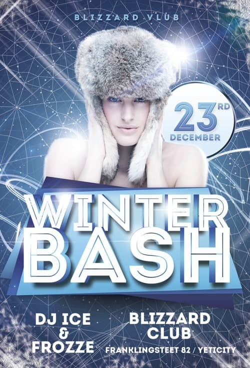 Freepsdflyer  Download Winter Bash Free Flyer Template For Photoshop
