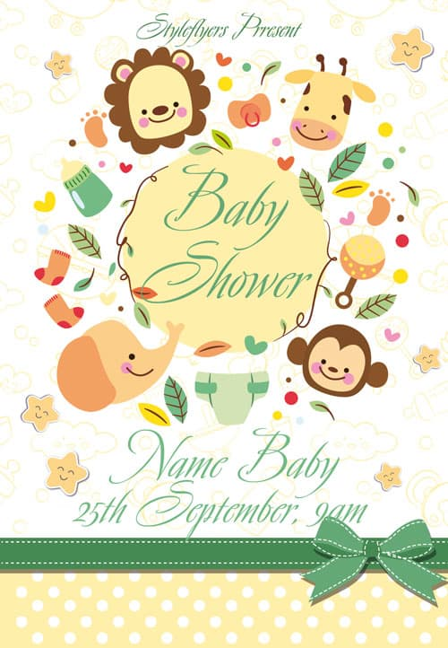 Baby Shower Free Flyer Template Download For Photoshop