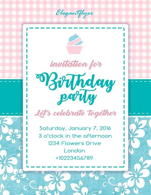 Birthday Party Invitation Free Flyer Template  Download For Photoshop