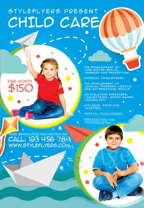 Freepsdflyer child care free flyer template download for Child care brochure template free