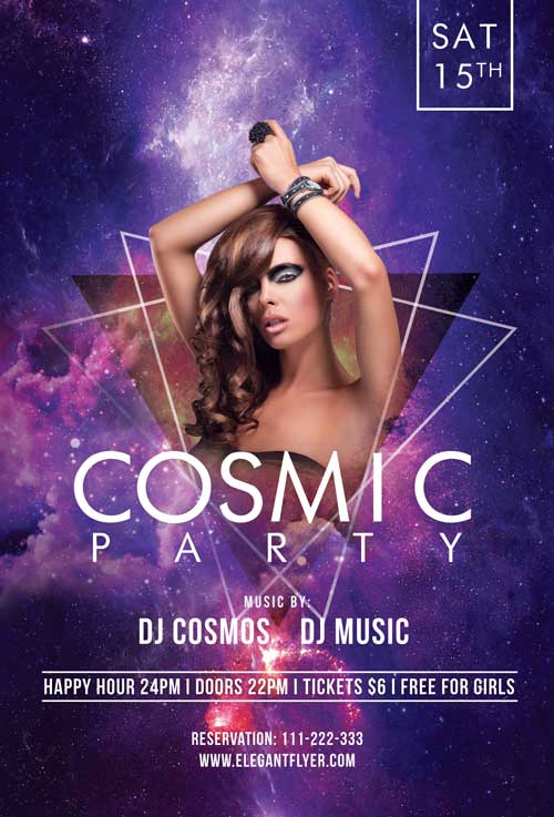 Cosmic Party Free Flyer Template for Photoshop