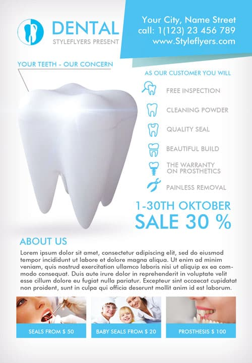 Dental Clinic Free Flyer Template