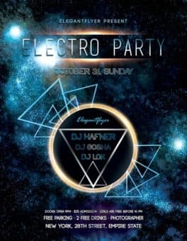 Electro Space Party Free Flyer Template