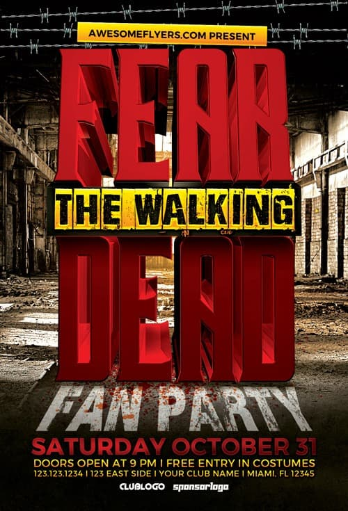 FreePSDFlyer | Download Fear The Walking Dead Party Flyer Template ...