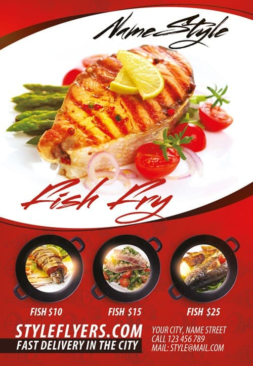 Fish Restaurant Free Flyer Template  Download For Photoshop