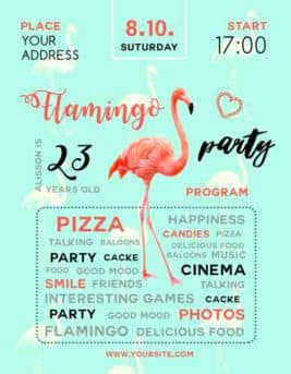 Flamingo Party Free Flyer Template