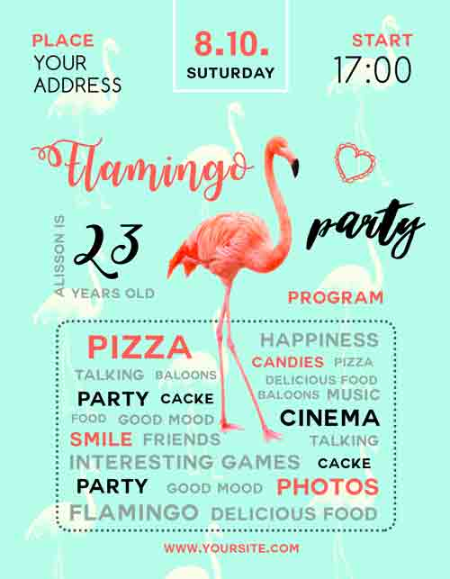 Flamingo Party Free Flyer Template Download For Photoshop