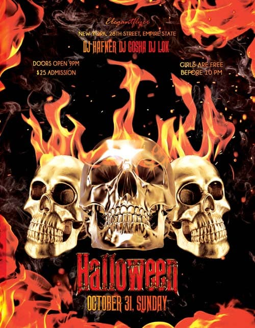 Halloween psd flyer template download for photoshop for Halloween psd