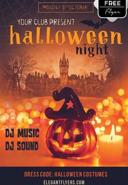 Download the halloween night party free flyer template for for Free halloween flyer templates