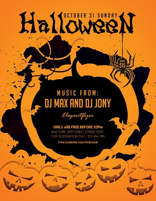 Halloween party freebie flyer template download for for Free halloween flyer templates