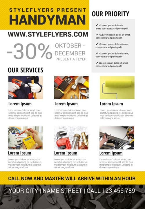 Handyman Business Free Flyer Template - Download For Photoshop