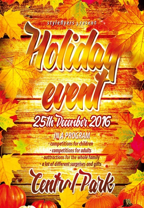 Freepsdflyer  Autumn Holiday Event Free Flyer Template  Download