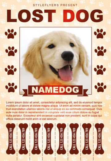 Lost Dog Free Flyer Template