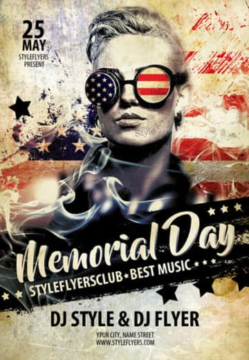 Memorial Day Party Free Flyer Template