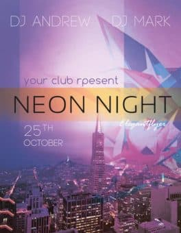 Neon Night Free PSD Flyer Template