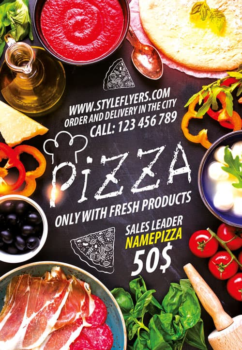 download the pizza restaurant free flyer template for photoshop