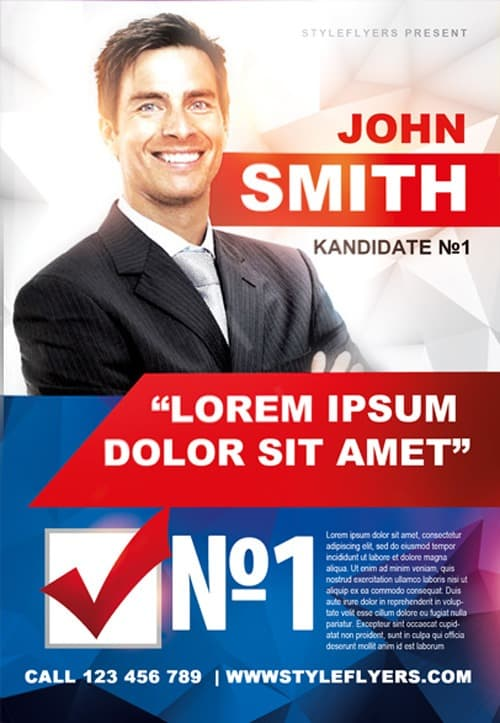 Political Campaign Free Flyer Template  Download For Photoshop